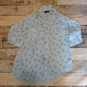 Cute dog print button up top in size small.